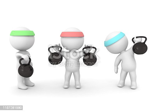 3D Characters working out with kettlebells. 3D Rendering isolated on white.