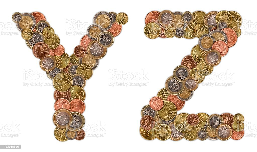 Characters Y and Z made of Euro coins royalty-free stock photo