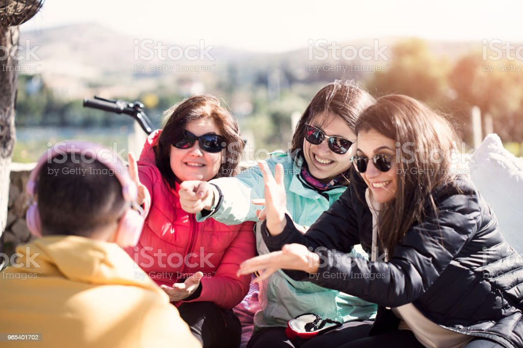 Charades with Friends royalty-free stock photo