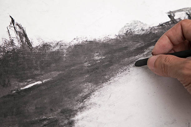 charcoal art - charcoal drawing stock photos and pictures