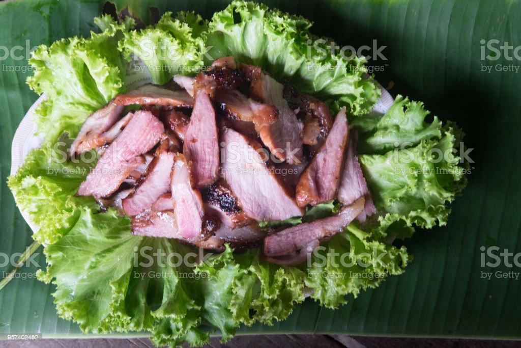 Charcoal boiled pork neck. Grilled Pork Neck