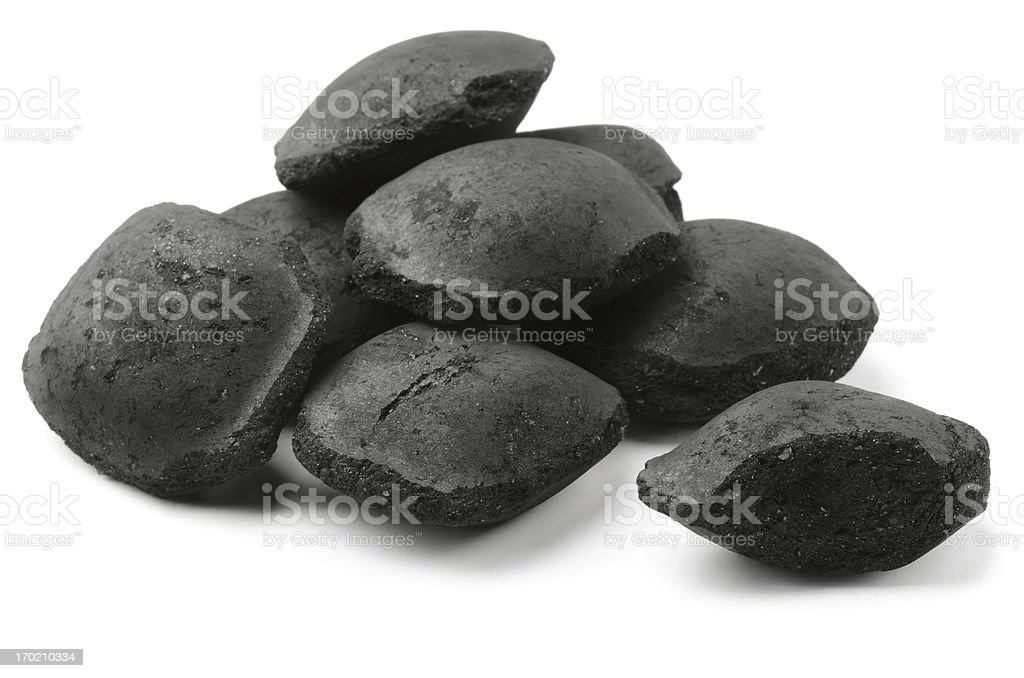 Charcoal briquetts stock photo
