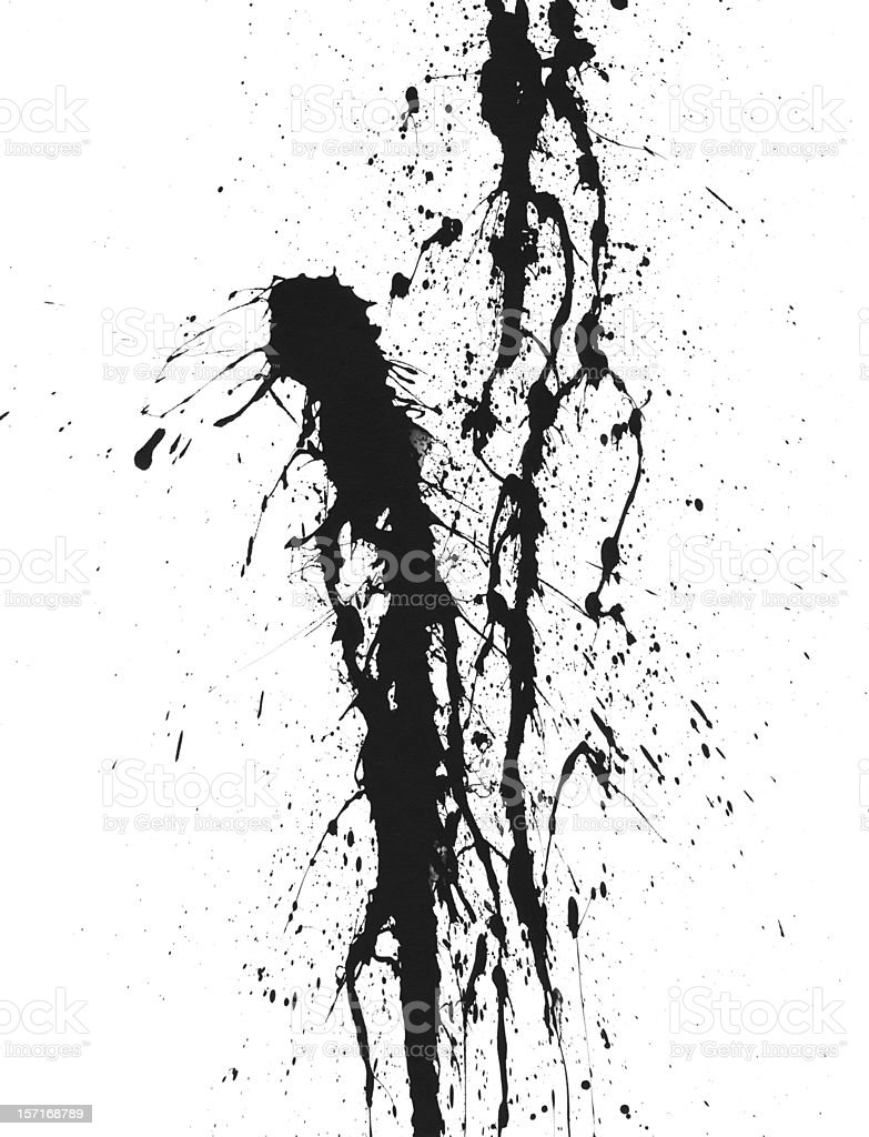 Charcoal Colored Paint Splattered on White Canvas royalty-free stock photo