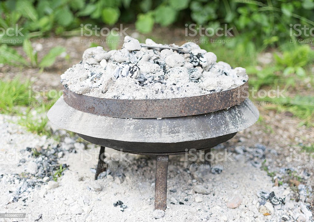 Charcoal embers on the container. royalty-free stock photo