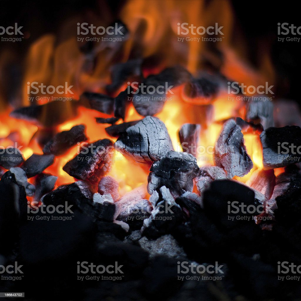 charcoal fire stock photo