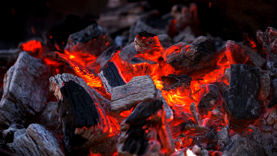Glowing Hot Charcoal Fire