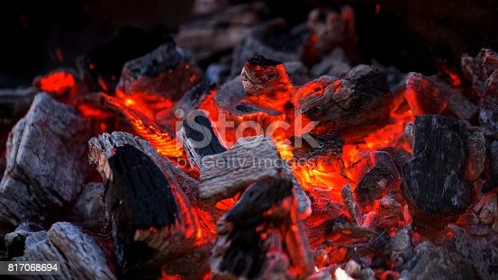 Glowing Hot Charcoal Fire