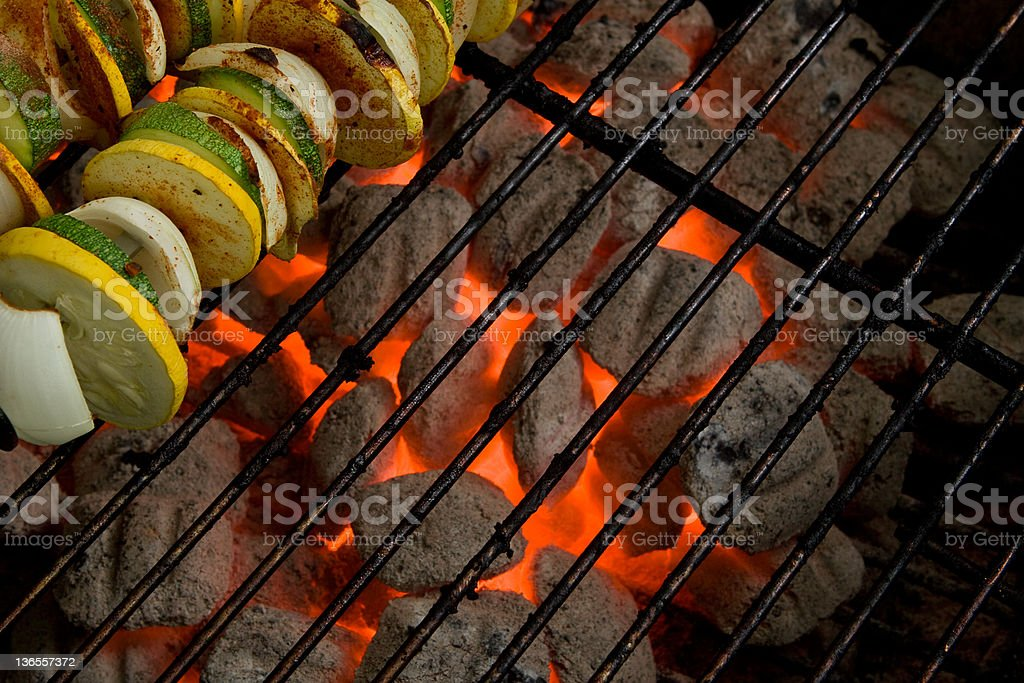 Charcoal Grill Coals & Vegetable Skewers royalty-free stock photo