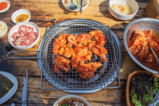 Charcoal grilled chicken. stock photo