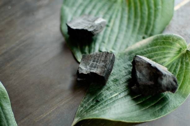 Charcoal ingredient for detox health and wellness beauty detox spa and tranquility background stock photo
