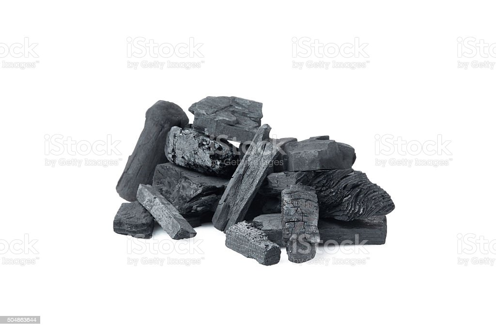 charcoal on  white background stock photo