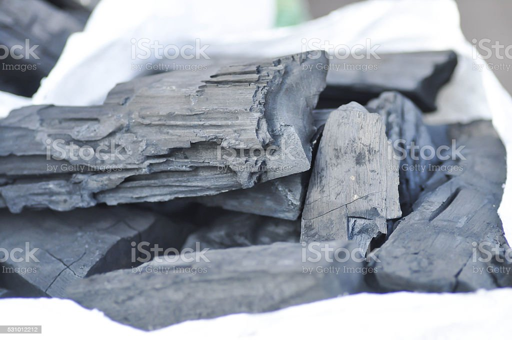 charcoal or cinder in the bag stock photo