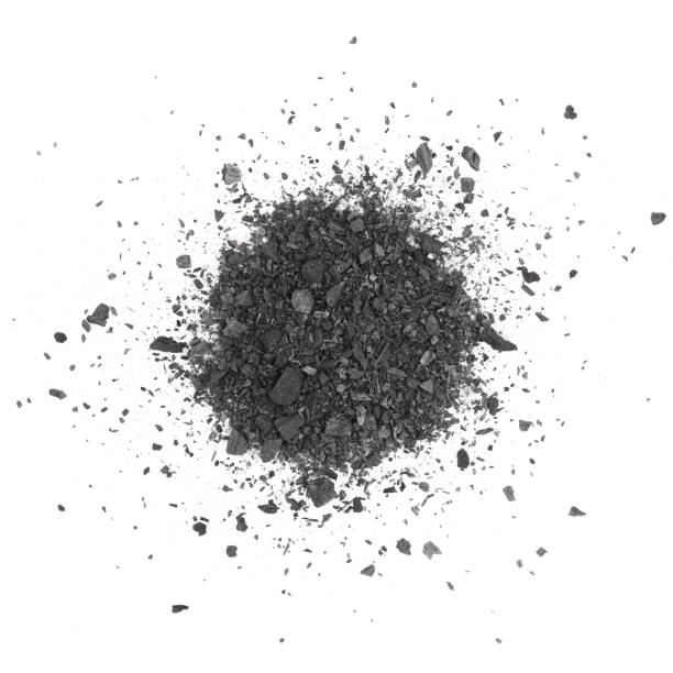 Charcoal or coal carbon texture hi resolution isolated on white background stock photo