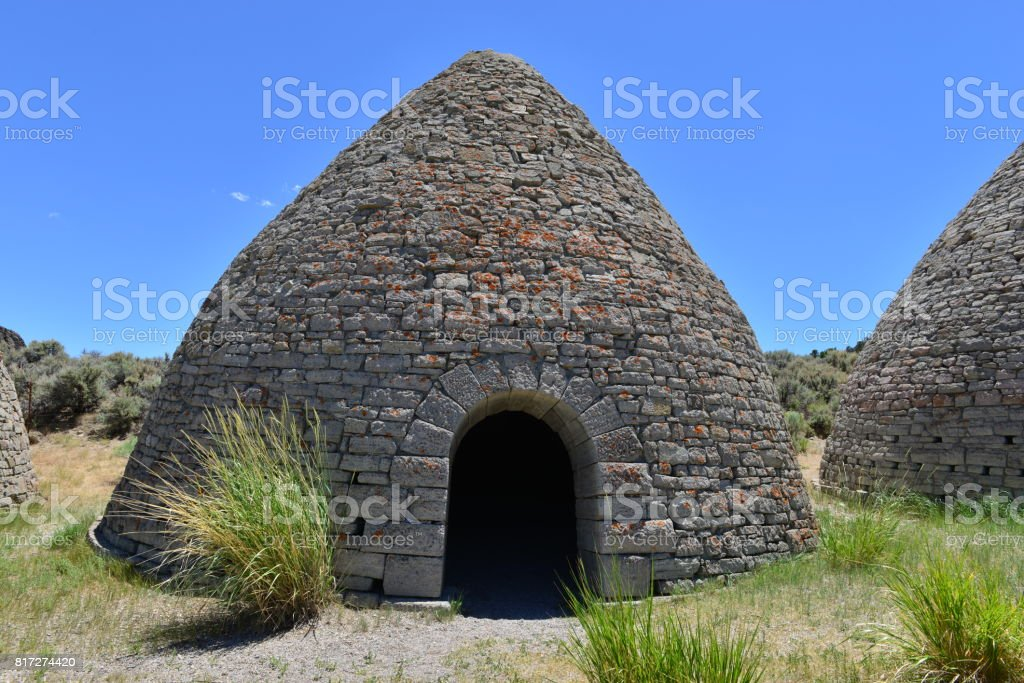 Charcoal ovens used for creating charcoal for the smelting of ore in Nevada in the early 20th century. stock photo