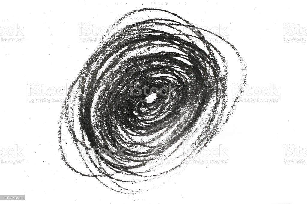 Holzkohle Bleistift swirl auf Weiß – Foto