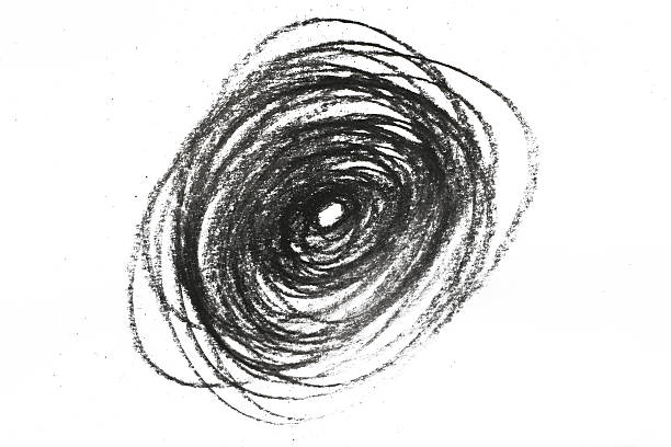 Charcoal pencil swirl on white stock photo
