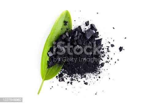 Charcoal powder, Burned wood isolated on white background.