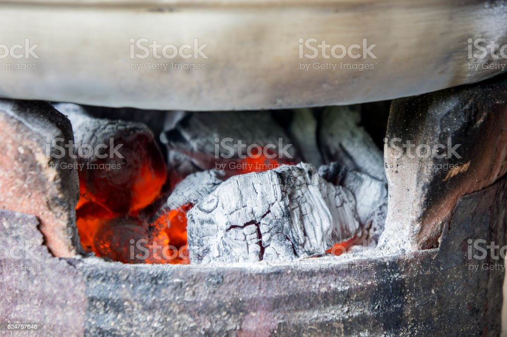 Charcoal stove, Furnace, charcoal, heat from charcoal for cooking Or hot Watch out for the heat of charcoal fire. stock photo