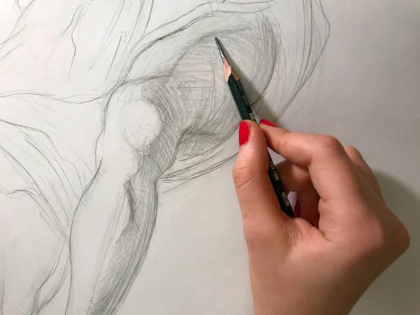 holzkohle arbeit 1 - zeichnen lernen mit bleistift stock-fotos und bilder