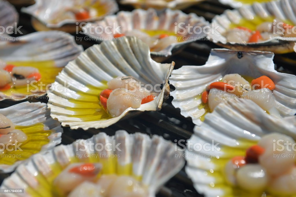 Charcoal-grilled scallop, Italian Cuisine stock photo