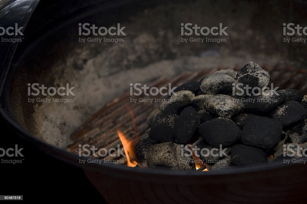 Charcoals lighting royalty-free stock photo