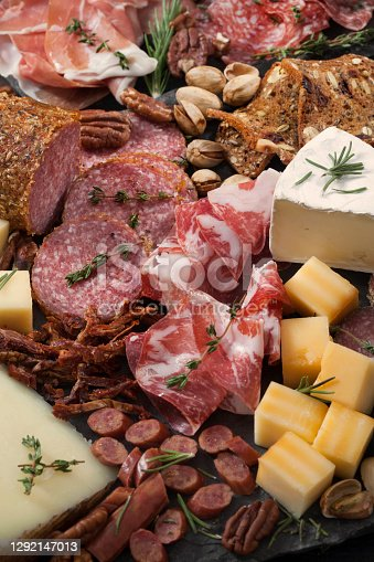 Cured Meat and Cheese Platter with Nuts, Crackers and Crusty Bread