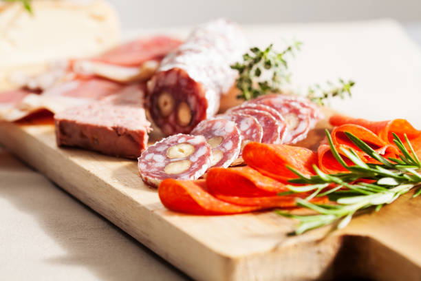 charcuterie board - delis stock photos and pictures