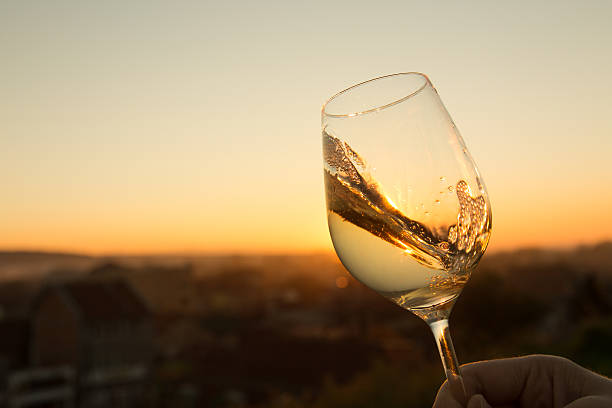 Chardonnay Glass White wine in crystal glass against sunset. white wine stock pictures, royalty-free photos & images