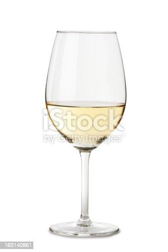 White Wine Glass Isolated on White Background
