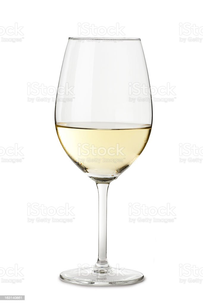 Chardonnay Wine Glass Isolated on White Background stock photo