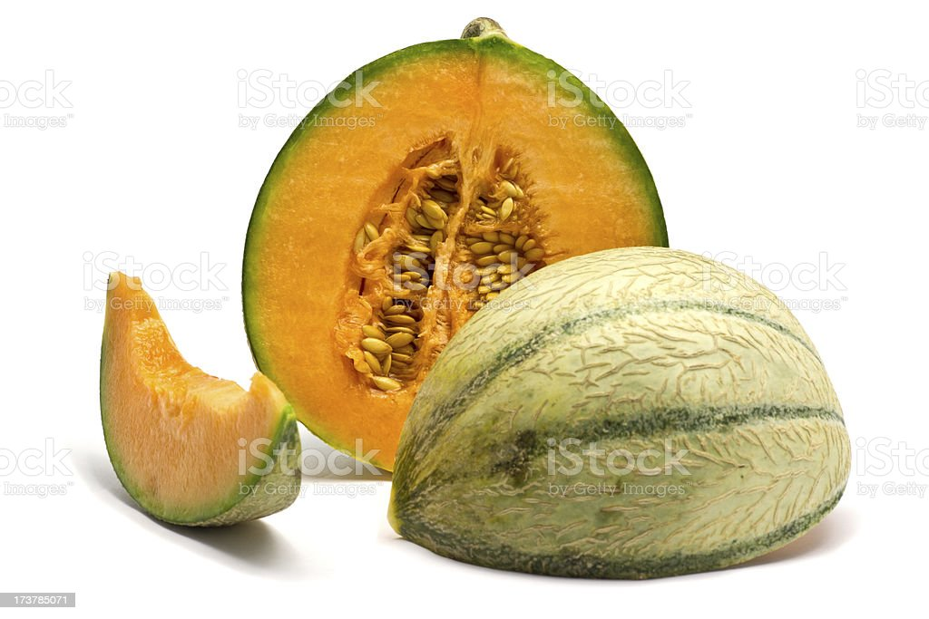 charentais melon sliced in 3 royalty-free stock photo