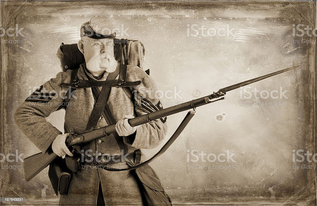 Charge! American Civil War Confederate Soldier. stock photo