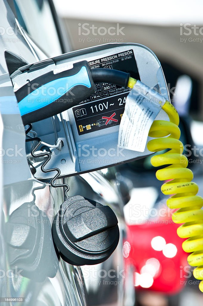 charge electric car close-up royalty-free stock photo