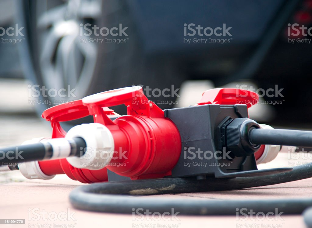 charge electric car - multi charger royalty-free stock photo