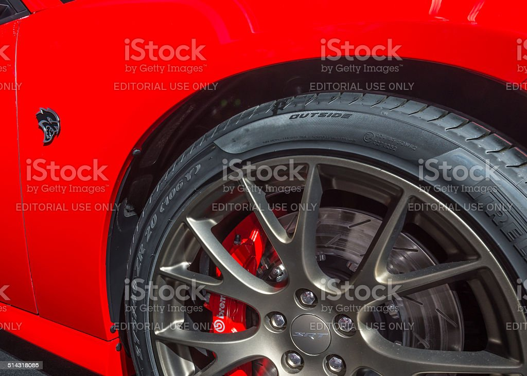 2016 SRT (Dodge) Charger Hellcat Badge stock photo