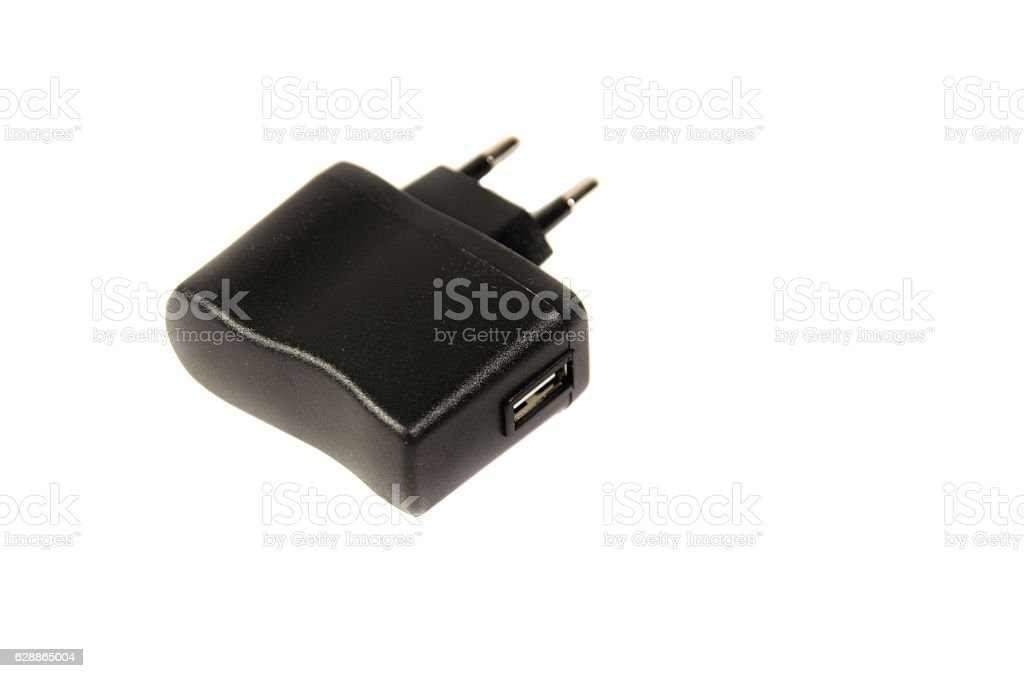 USB charger isolated on a white background stock photo