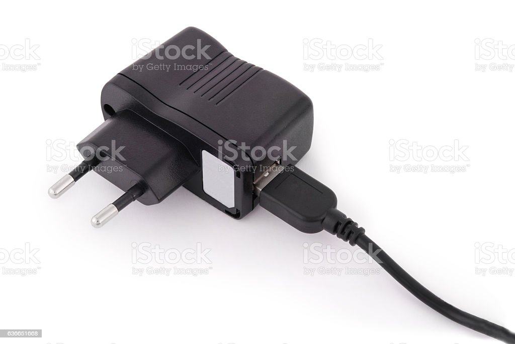 Charger to the smartphone (Clipping path) stock photo