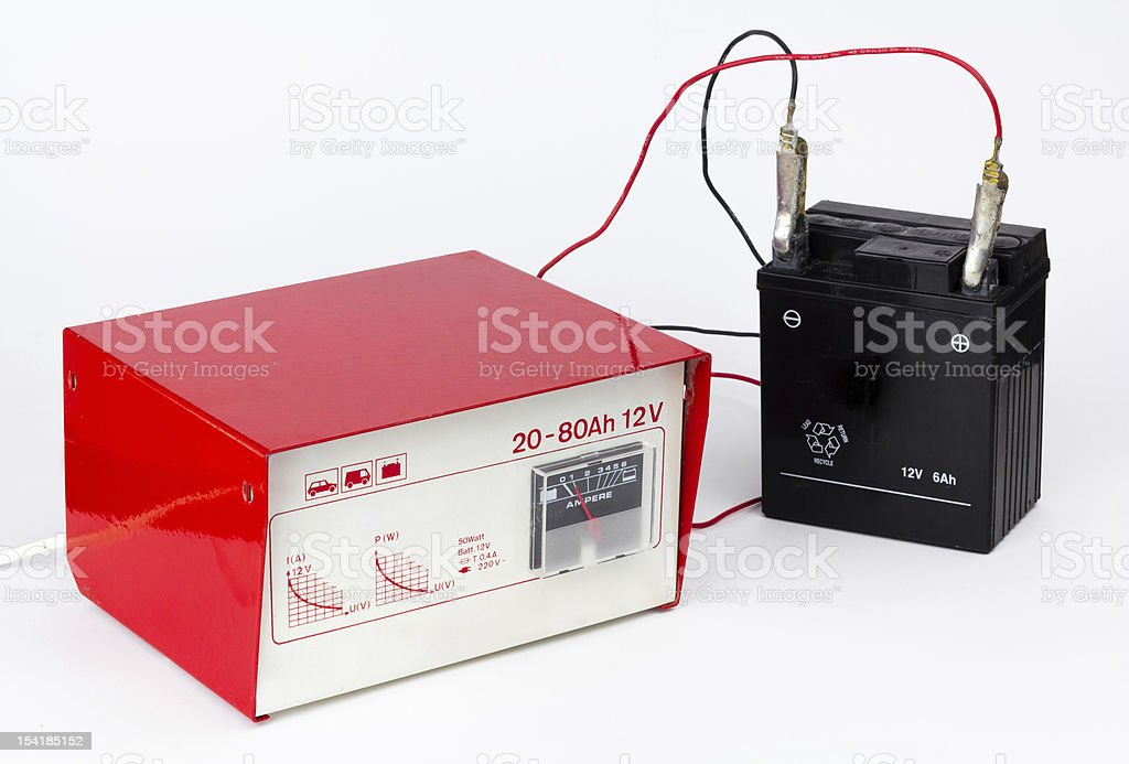 Charging a battery stock photo