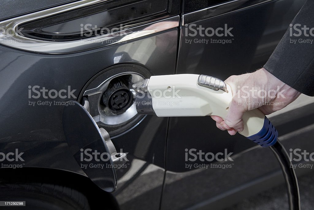 Charging an Electric Car stock photo