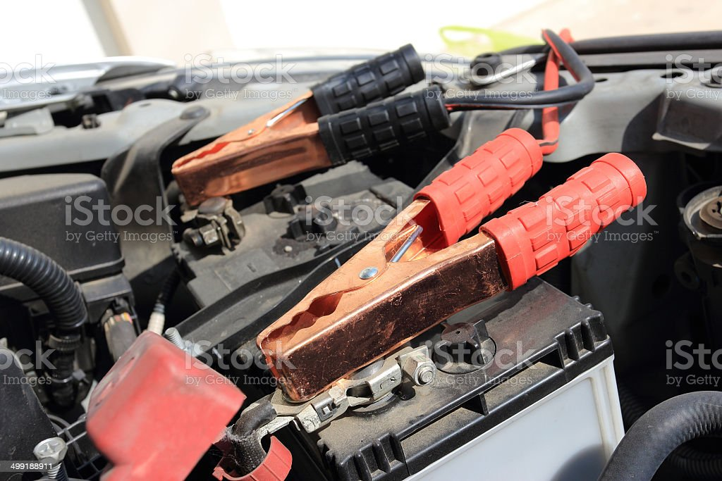 Charging battery car stock photo