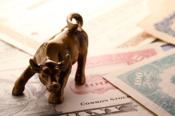 charging bull on top of stock certificates - stock certificate stock photos and pictures