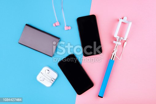 USB charging cables for smartphone and tablet in top view