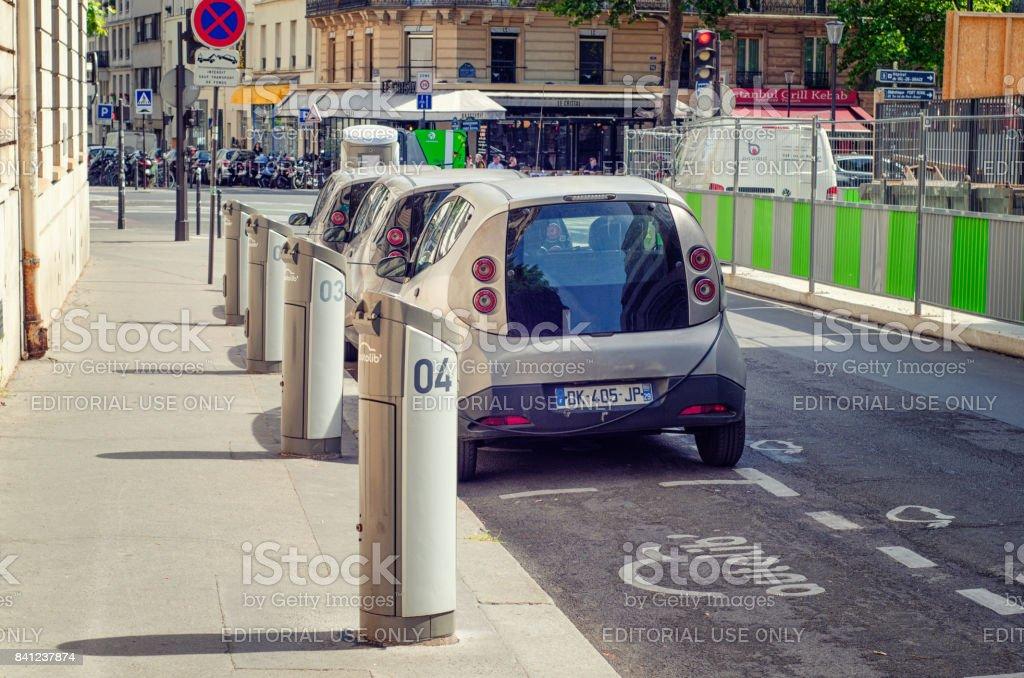 Charging car station Autolib in Rue Henri Barbusse stock photo