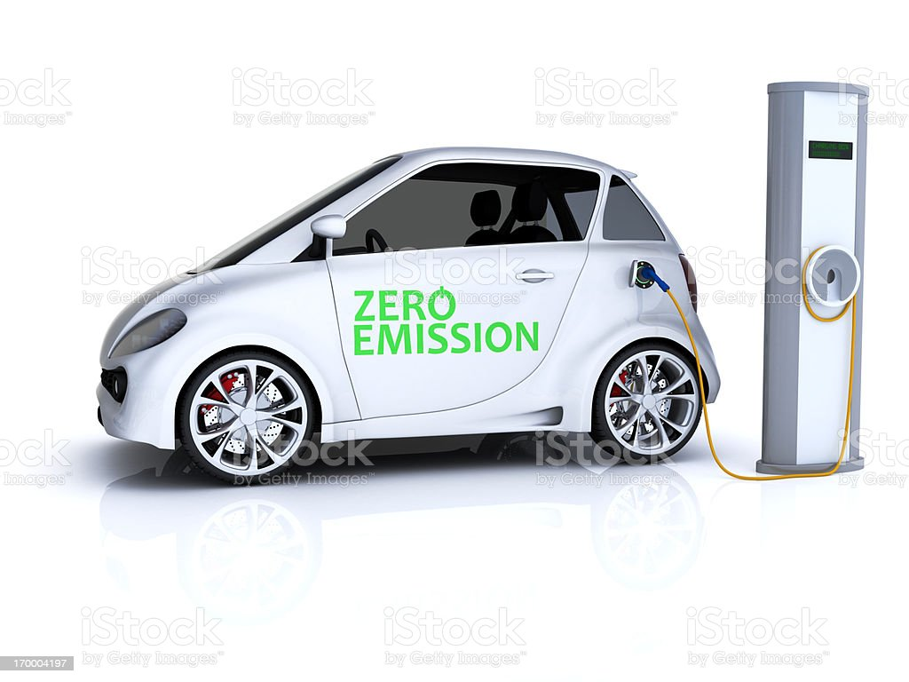 Charging Compact Car stock photo