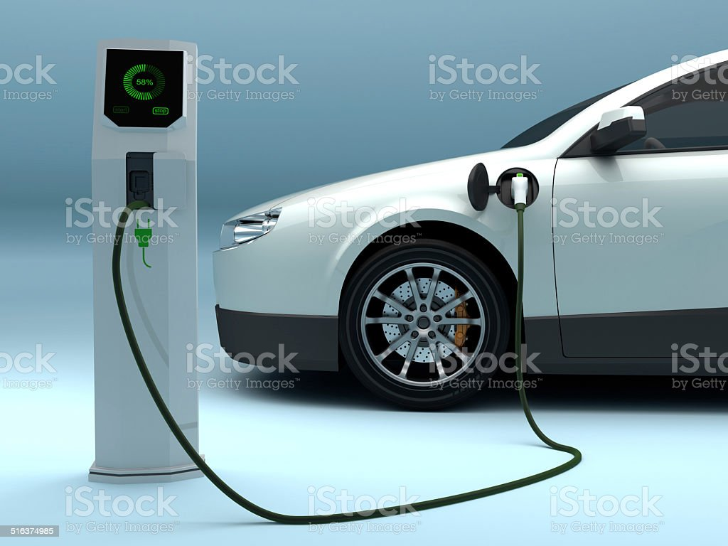 Charging Electric Car stock photo