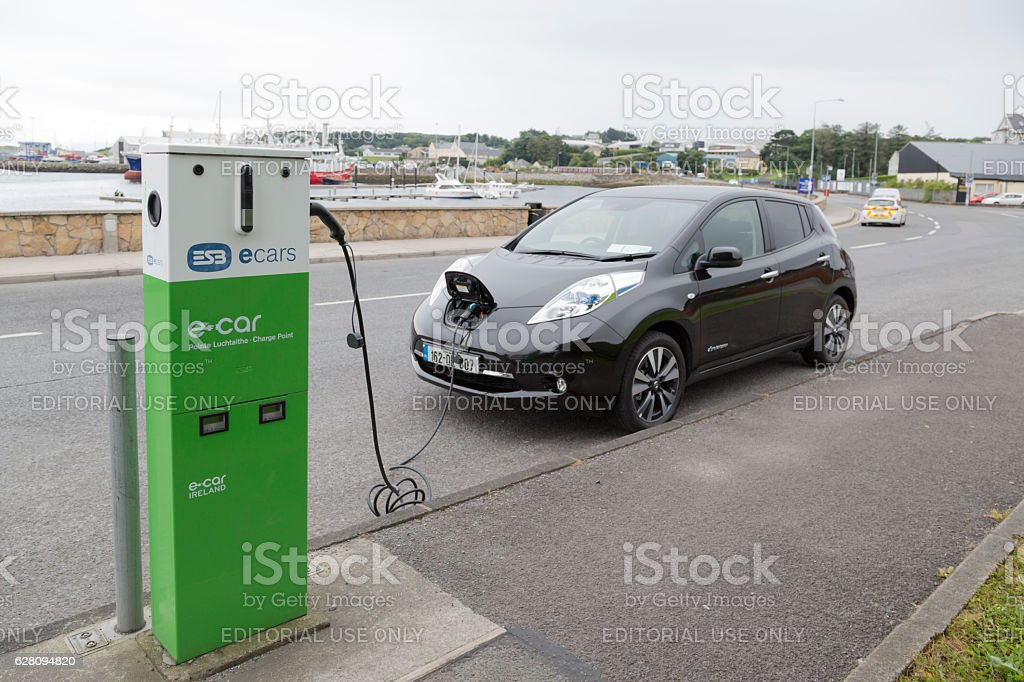 Charging electric drive car. stock photo