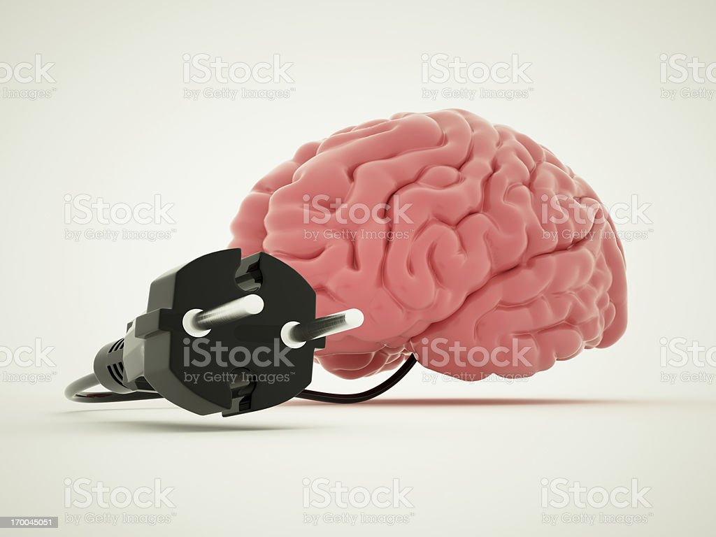 Charging for brain royalty-free stock photo