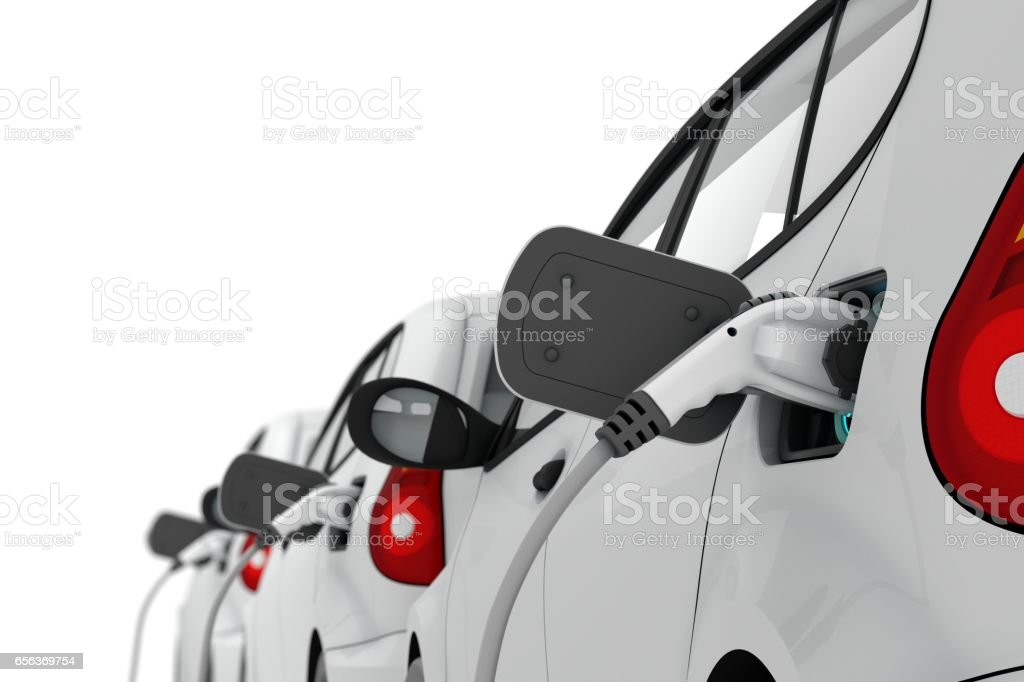 Charging of Electric Cars - foto stock