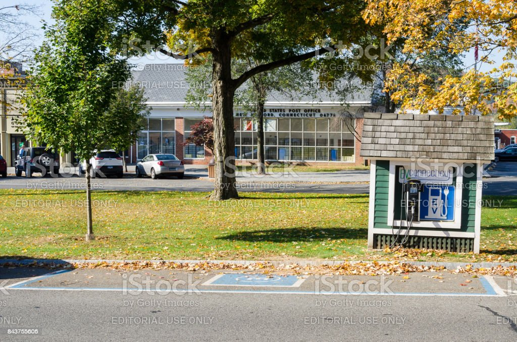 Charging Point for Electric Vehicles in New Milford, CT stock photo