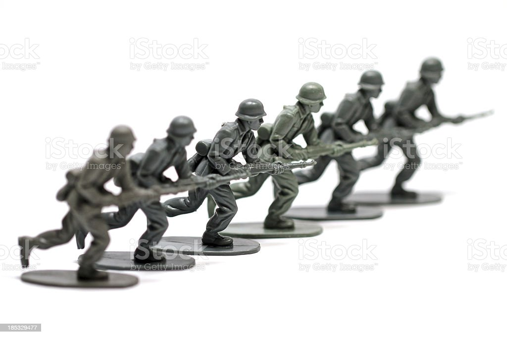 Charging Soldiers royalty-free stock photo